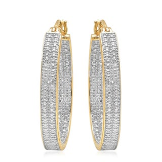 Marabela Two Tone Diamond Accent C Hoop Earrings