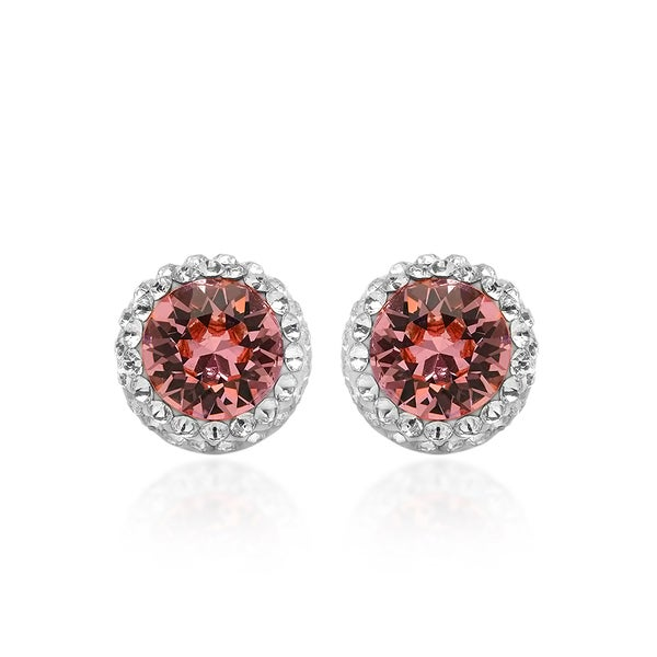 Marabela Sterling Silver Pink Swarovski Element Crystal Stud Earrings