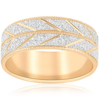 Link to 10k White & Yellow Gold Mens Two Tone Wedding Ring 8MM Sandblast Leaf Vintage Band Similar Items in Rings
