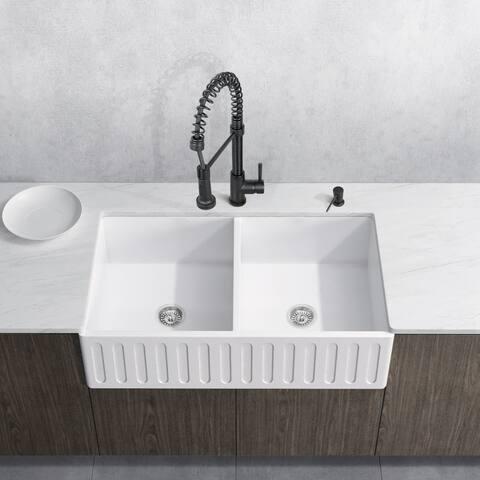 VIGO White Double Bowl Kitchen Sink Set with Edison Faucet
