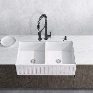VIGO White Double Bowl Kitchen Sink Set with Edison Faucet
