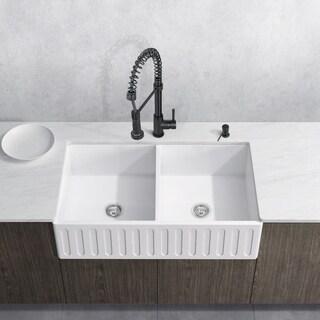 VIGO 36 Inch Matte Stone Double Bowl Farmhouse Sink Set With Edison Matte  Black