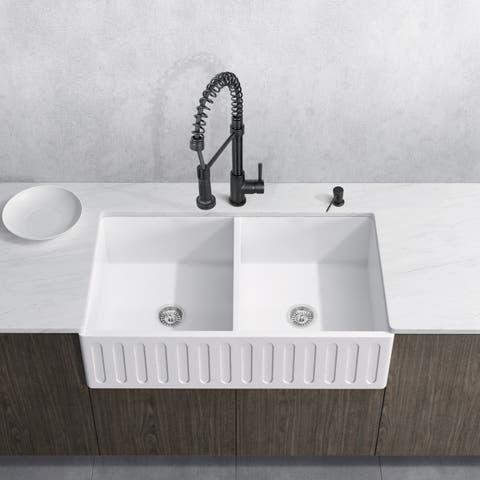 VIGO Matte Stone Double Bowl Kitchen Sink Set with Edison Faucet