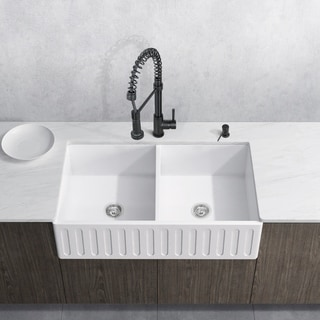 Incroyable VIGO All In One 33 Matte Stone Double Bowl Farmhouse Sink Set With Edison