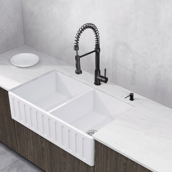 VIGO All In One 33u201d Matte Stone Double Bowl Farmhouse Sink Set With