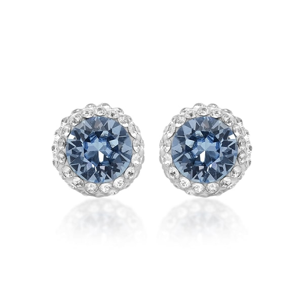 Marabela Sterling Silver Blue Swarovski Crystal Elements Stud Earrings