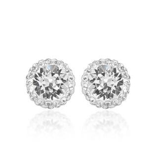 Marabela Sterling Silver Swarovski Crystal Elements Halo Stud Earrings