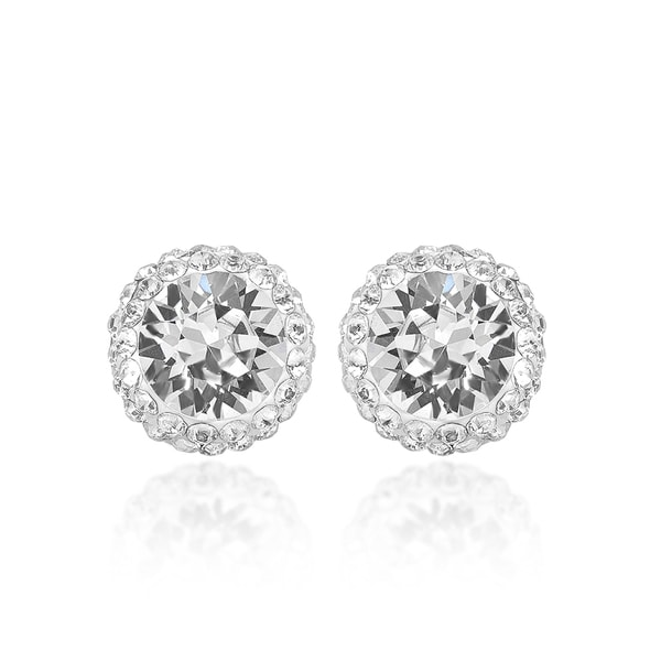 Marabela Sterling Silver Swarovski Crystal Elements Halo Stud Earrings