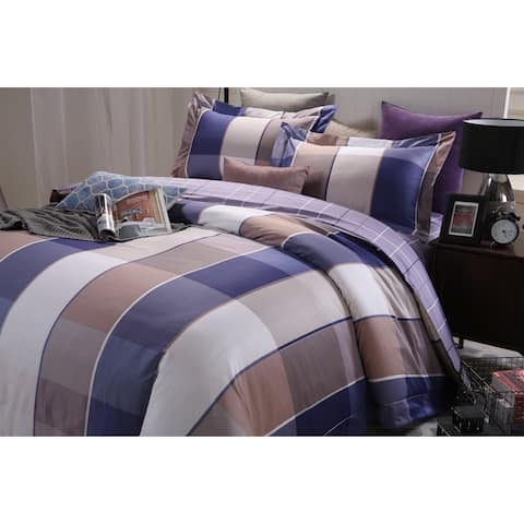 Lavish Night Royal Republic Pima Cotton Blue Plaid 3 Piece Duvet Cover Set
