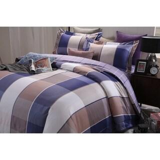 Lavish Night Royal Republic Pima Cotton Blue Plaid 3 Piece Duvet Cover Set
