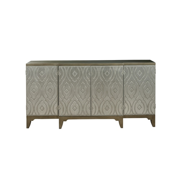 Utopia Silver-finished Wood 4-door Console Table