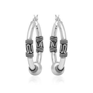 Marabela Sterling Silver Balinese Inspired Hoop Earrings