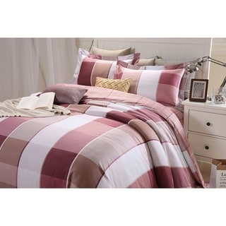 Lavish Night Royal Republic Pima Cotton Red Plaid 3-piece Duvet Cover Set