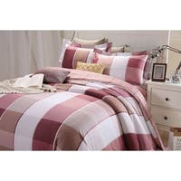 Lavish Night Royal Republic Pima Cotton Red Plaid 3 Piece Duvet Cover Set
