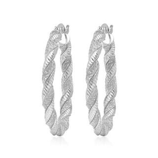 Sterling silver Italian Glitter Twisted Hoop