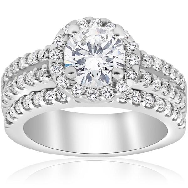 Matching Diamond Engagement And Wedding Ring 1 46ct: Shop 14K White Gold 1 7/8 Ct TDW Diamond Enhanced Halo