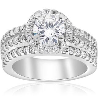 14K White Gold 1 7/8 ct TDW Diamond Enhanced Halo Engagement Ring Matching Wedding Band Double Row Set (I-J,I2-I3)