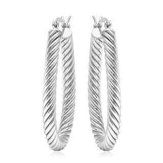 White Sterling Silver Twisted Hoop Earrings