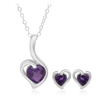 Marabela Sterling Silver Heart Shape Amethyst Earring and Pendant Set