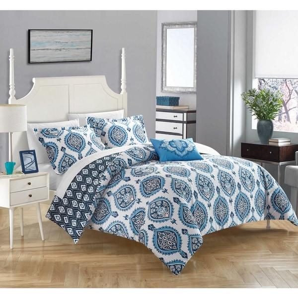 Chic Home 4-piece Eaton Blue 100-percent Cotton Reversible Duvet Cover Set