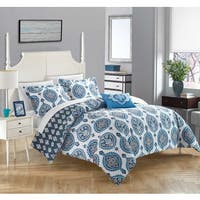 Chic Home 4-piece Eaton Blue 100-percent Cotton Reversible Duvet Cover Set