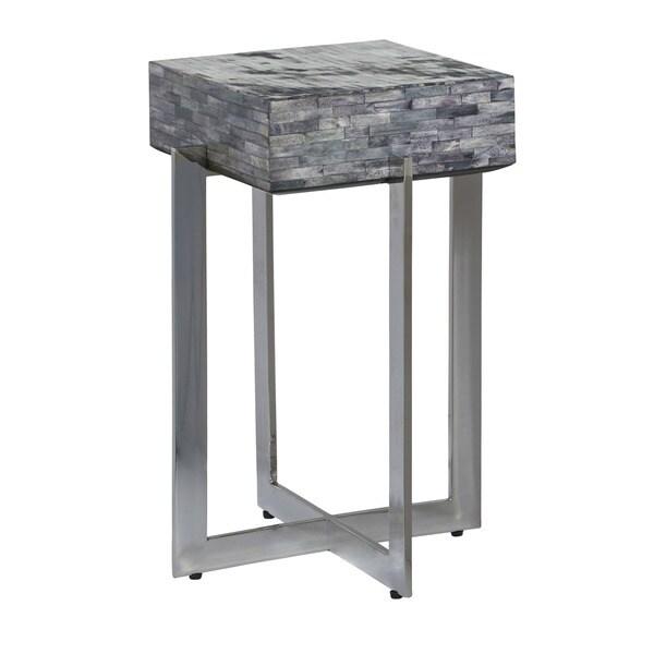 Calvin Grey Steel Bone Inlay Accent Table