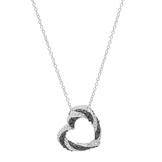 Sterling Silver White and Black Heart Pendant Necklace