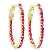 Luxiro Gold Finish Sterling Silver Lab-created Ruby 31x20-mm Oval Endless Hoop Earrings - Pink