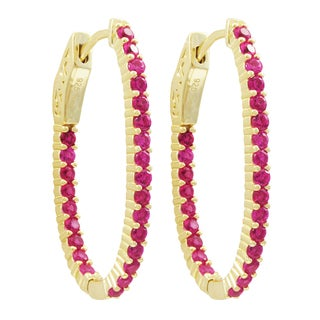 Luxiro Gold Finish Sterling Silver Lab-created Ruby 31x20-mm Oval Endless Hoop Earrings
