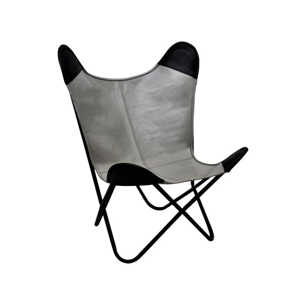 Pine Canopy Midewin Leather Butterfly Chair With Brown Pockets