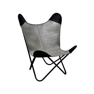 LEATHER BUTTERFLY CHAIR WHITE WITH BROWN POCKETS