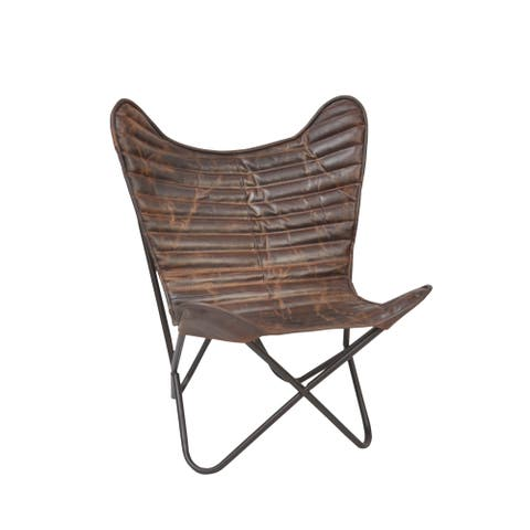 Carbon Loft Larkin Ribbed Wing Leather Butterfly Chair