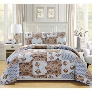 Fashion Street Linda Quilted 3-piece Bedspread Set