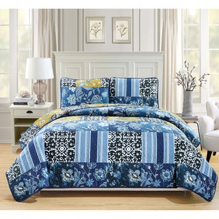 Fashion Street Navy Floral Quilted 3-piece Bedspread Set