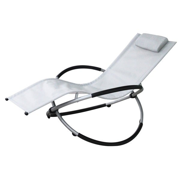Red Vanilla White Aluminum Outdoor Rocking Lounge Chair