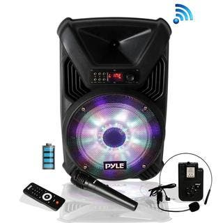 Pyle PPHP126WMU Portable PA Speaker & Microphone System, Bluetooth Wireless Streaming, Built-in Rechargeable Battery|https://ak1.ostkcdn.com/images/products/16067152/P22453798.jpg?impolicy=medium