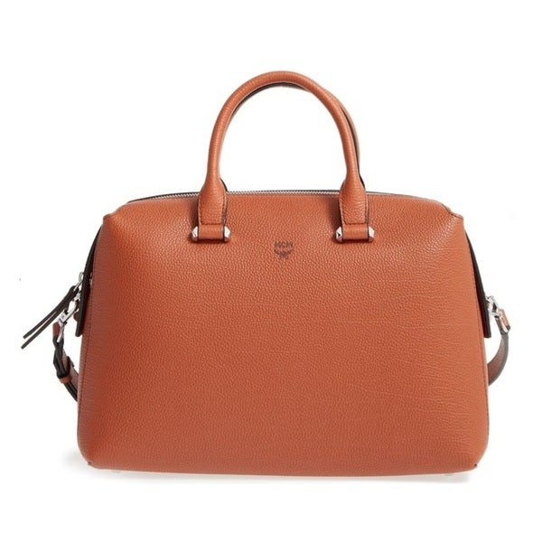 cbcca3b401d040 Shop MCM Medium Ella Ginger Bread Boston Bowler Satchel Handbag ...