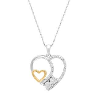Marabela Sterling Silver Two Tone Miracle Plate Diamond Heart Pendant - White H-I