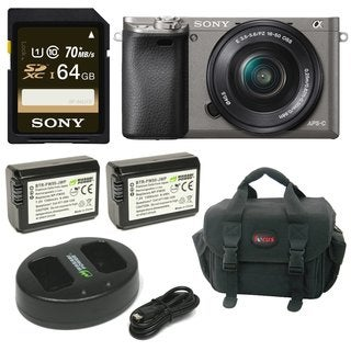 Sony Alpha a6000 Camera w/ 16-50mm Lens and 64GB SD Card Bundle - Graphite