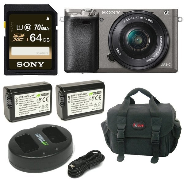 Sony Alpha a6000 Camera w/ 16-50mm Lens and 64GB SD Card Bundle - Graphite 26723055