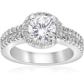 14K White Gold 1 1/2 ct Diamond Enhanced Halo Double Row Engagement Ring (I-J,I2-I3)
