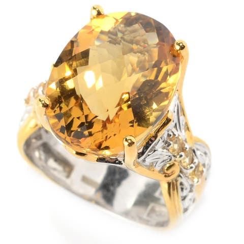 Michael Valitutti Palladium Silver Ultra-Faceted Citrine Cocktail Ring
