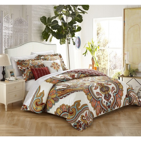 Shop Chic Home 5 Piece Hendra Cotton Reversible Comforter Set On