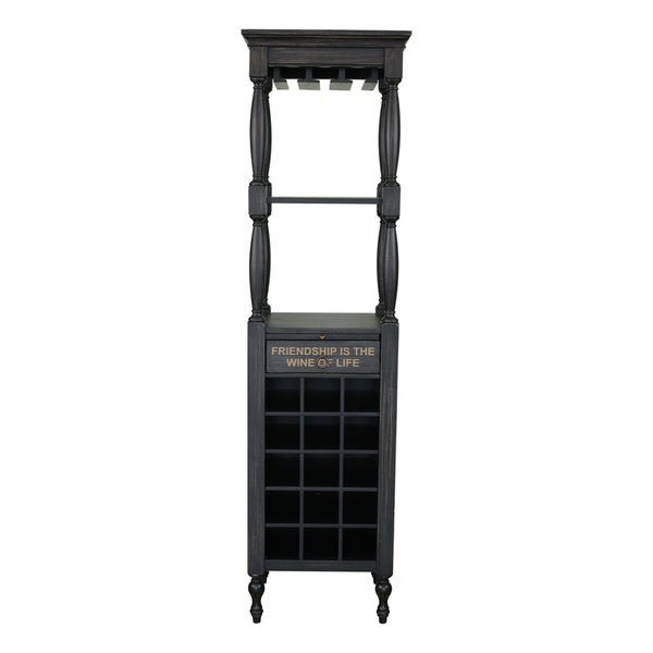 Fulton Black Wood Wine Cabinet