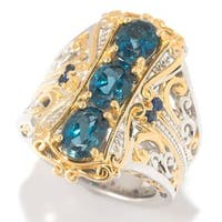 Michael Valitutti Palladium Silver London Blue Topaz & Blue Sapphire Elongated Ring