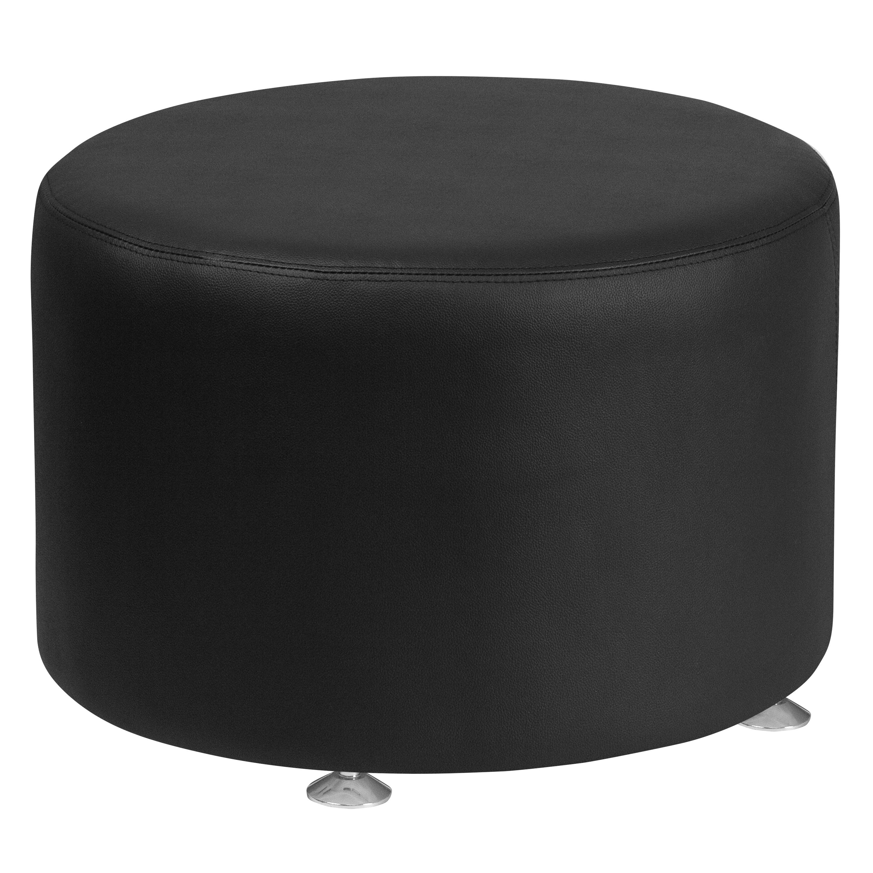 Admirable Leather 24 Round Ottoman Gmtry Best Dining Table And Chair Ideas Images Gmtryco
