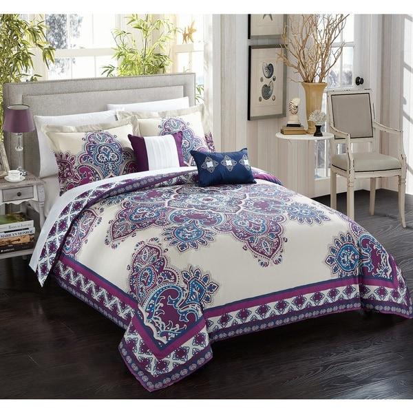 Chic Home 5-piece Sati Purple Cotton Reversible Comforter Set
