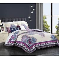 Chic Home 5-piece Sati Purple Cotton Reversible Comforter Set