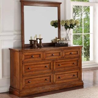 Abbyson Augusta Wood Dresser and Mirror Set