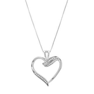 Marabela Sterling Silver Diamond Heart Pendant - White H-I
